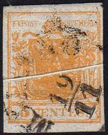 1850 - 5 Cent. Giallo Arancio, Pli D'accordeon (1g), Perfetto, Usato A Milano 19/11. Ferrario.... - Lombardo-Vénétie