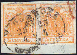 1850 - 5 Cent. Arancio (1h), Coppia, Perfetta, Usata Su Frammento A Verona 25/4. A.Diena, Raybaudi.... - Lombardo-Vénétie