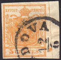 1850 - 5 Cent. Arancio, Principio Di Croce Di Sant' Andrea A Destra (1h), Perfetto, Usato Su Piccolo... - Lombardo-Vénétie