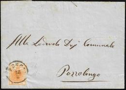 1856 - 5 Cent. Arancio Carico (1i), Perfetto, Isolato Su Sovracoperta Di Circolare Da Brescia 28/8/1... - Lombardo-Vénétie