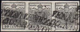 1850 - 10 Cent. Nero, Carta A Mano (2), Striscia Di Tre, Perfetta, Usata A Venezia 20/11. A.Diena, G... - Lombardo-Vénétie