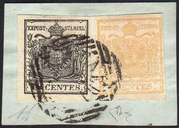"""1850 - 10 Cent. Nero, Carta A Mano, Dicitura """"CENTES"""" Ritoccata, 5 Cent. Giallo Ocra, Stampa Recto V... - Lombardo-Vénétie"""