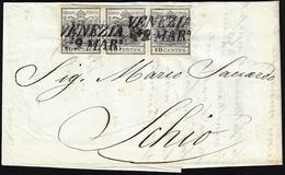 1852 - 10 Cent. Nero, Carta A Mano (2), Striscia Di Tre, Perfetta, Su Lettera Da Venezia 9/3/1852 A ... - Lombardo-Vénétie