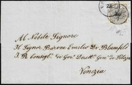 1854 - 10 Cent. Grigio Nero, Carta A Mano (2c), Perfetto, Isolato Su Sovracoperta Di Lettera Da Vene... - Lombardo-Vénétie