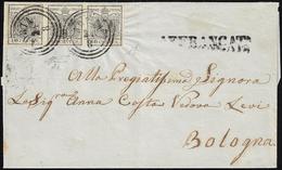 1854 - 10 Cent. Grigio Nero, Carta A Mano (2c), Striscia Di Tre, Ottimo Stato, Su Sovracoperta Di Le... - Lombardo-Vénétie