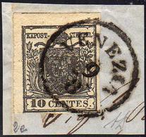 1850 - 10 Cent. Nero Carbone, Carta A Mano (2e), Perfetto, Usato Su Piccolo Frammento A Venezia 9/8.... - Lombardo-Vénétie