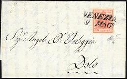 1851 - 15 Cent. Rosso Vermiglio, II Tipo, Carta A Mano (4), Perfetto, Su Lettera Da Venezia 9/5/1851... - Lombardo-Vénétie