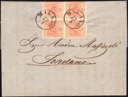 1857 - 15 Cent. Rosso, III Tipo, Carta A Mano (6), Blocco Di Quattro, Impercettibile Piega D'archivi... - Lombardo-Vénétie