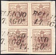 1854 - 30 Cent. Bruno Lillaceo, II Tipo, Carta A Mano (9), Quattro Esemplari Perfetti, Usati Su Fram... - Lombardo-Vénétie