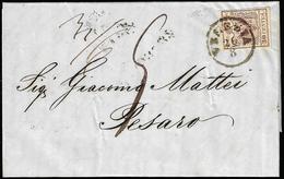 1855 - 30 Cent. Bruno Lillaceo, II Tipo (9), Perfetto, Su Lettera Insufficientemente Affrancata Da V... - Lombardo-Vénétie
