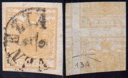 1851 - 5 Cent. Giallo Ocra, Stampa Recto-verso, Controstampa Dritta (12A), Perfetto, Usato A Venezia... - Lombardo-Vénétie