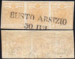 1851 - 5 Cent. Giallo Ocra, Stampa Recto-verso, Controstampa Capovolta (13), Striscia Orizzontale Di... - Lombardo-Vénétie