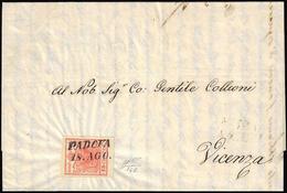 1851 - 15 Cent. Rosso Vermiglio Intenso, Carta A Coste Verticali (14b), Perfetto, Su Lettera Del 18/... - Lombardo-Vénétie
