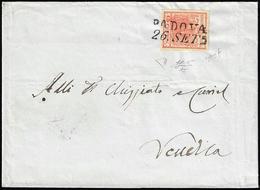 1851 - 15 Cent. Rosso Vermiglio, II Tipo, Carta A Coste Verticali (15), Perfetto, Su Lettera Da Pado... - Lombardo-Vénétie