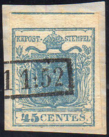 1851 - 45 Cent. Azzurro, I Tipo, Carta A Coste Verticali (17), Usato Su Piccolo Frammento, Perfetto.... - Lombardo-Vénétie