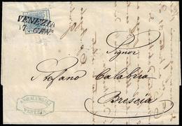 1853 - 45 Cent. Azzurro, I Tipo, Carta A Coste Verticali (17), Perfetto, Su Lettera Da Venezia 17/1/... - Lombardo-Vénétie