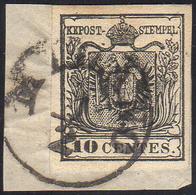 1857 - 10 Cent. Nero, Carta A Macchina (19), Perfetto, Usato Su Piccolo Frammento A Milano 1/2. Rayb... - Lombardo-Vénétie