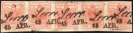 1854 - 15 Cent. Rosso Vermiglio, Carta A Macchina (20), Striscia Di Cinque, Perfetta, Usata A Lecco ... - Lombardo-Vénétie