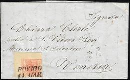 1855 - 15 Cent. Rosso Vermiglio, Carta A Macchina (20), Angolo Di Foglio, Perfetto, Su Lettera Da Ro... - Lombardo-Vénétie