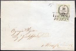 MARCHE DA BOLLO 1856 - 30 Cent. Marca Da Bollo Calcografica (8), Perfetta, Su Lettera Da Treviso 29/... - Lombardo-Vénétie