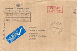 Portugal 1998 Cais Dos Soldados Lisboa Ministerio De Defesa Taxa Paga Cover To Austria - Franchise