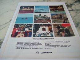 ANCIENNE PUBLICITE MERVEILLEUX MEXIQUE  AVEC LUFTHANSA 1966 - Advertisements