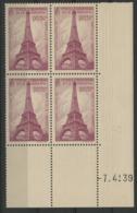 """N° 429 Cote 85 €. Coin Daté Du 7/4/39 / Bloc De Quatre """"Tour Eiffel"""". - 1930-1939"""