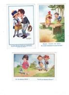 Lot 3 Cpa Illustration Humour DONALD MAC GILL - Garçon Fillette Amoureux Chapeau Ombrelle Panier Livre Ouvert - Mc Gill, Donald