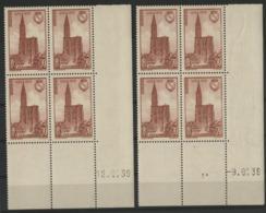 """N° 443 (x8) Cote 20 €. Deux Coins Datés Différents Du 9 Et 12/6/39 / Blocs De Quatre """"Cathédrale De Strasbourg"""". - Dated Corners"""
