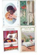 Lot 4 Cpa Illustration Humour DONALD MAC GILL - Garçon Couleur Noire Fillette Baignoire Poupée JOYEUX NOEL - Mc Gill, Donald