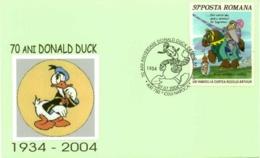 7249  Donald Duck: Oblitération 2004, Env. Commemorative - Cinéma, Disney Special Cancel On Commemorative Cover - Disney