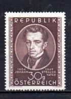 Austria 1949 Johann Strauss Father Mint Mnh Tu - 1945-.... 2ª República