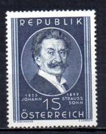 Austria 1949 Johann Strauss Mint Mnh Tu - 1945-60 Nuovi & Linguelle