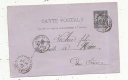 Entier Postal Sur Carte Postale, 10c , AULNAY DE SAINTONGE , Charente Inférieure,  NIORT, ST JEAN D'ANGELY, 2 Scans - Enteros Postales