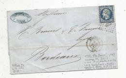 Lettre ,losange PC 2221 , NANTES ,NANTES A PARIS , BORDEAUX ,1856 , 2 Scans - Postmark Collection (Covers)