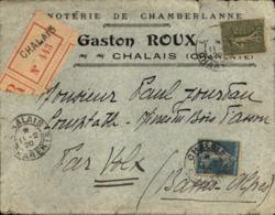 """Lettre En Tête Recommandée 1920  """" Gaston ROUX """" Minoterie De Chamberlanne à CHALAIS ( 16 ) - France"""