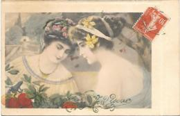 RAPHAEL TUCK HAPPY NEW YEAR ESTAMPES DART 2 JOLIES FEMMES - Tuck, Raphael