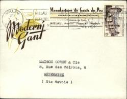 """Lettre En Tête 1956  """" MODERN GANT """" Manufacture De Gants De Peaux  MILLAU (12) - Publicités"""