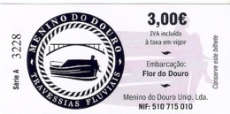 Ticket De Ferry Boat - Embarcaçao Flor Do Douro, Porto, Portugal 2019 - Bateau - Billets D'embarquement De Bateau