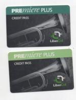 "2 Used Recharge Cards Phonecards "" Premiere Plus "" Lebanon 1999/2001, Telecarte Liban - Libanon"