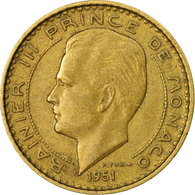 Monnaie, Monaco, Rainier III, 10 Francs, 1951, TTB, Aluminum-Bronze, Gadoury:MC - Mónaco