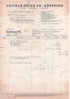 Nürnberg - Rechnung Zweirad Union AG 1   DKW Victoria Express - Verkehr & Transport