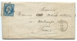 N°14 BLEU NAPOLEON SUR LETTRE / HOUDAN POUR ORCHAMPS / 17 JANV 1862 - Marcophilie (Lettres)