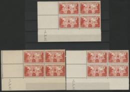 """N° 453 (x8) Cote 54 €. Trois Coins Datés Différents Du 1, 2 Et 4/3/40 / Blocs De Quatre """"Carte De L'empire Français"""". - 1940-1949"""