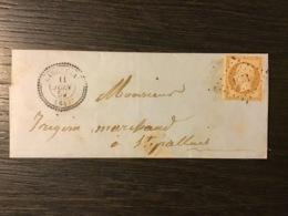 N°13 PC 1651 + T.22 LARCEVEAU (64) / Lettre Locale (1859). BASSES PYRÉNÉES. RARE (Indice 17). TB - Marcophilie (Lettres)