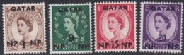 Qatar, Scott #1, 4, 6-7, Mint Hinged, Elizabeth II Surcharged, Issued 1957 - Qatar