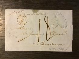 MARITIME : T.15 (rouge) OUTRE-MER PAUILLAC / Lettre (1858) De PUERTO-CABELLO Pour BORDEAUX , TAXE 18. TB - Marcophilie (Lettres)