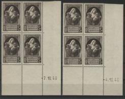 """N° 465 (x8) ** (MNH). Cote 20 €. Deux Coins Datés Différents Du 4 Et 7/10/40 / Blocs De Quatre """"victimes De La Guerre"""". - 1940-1949"""