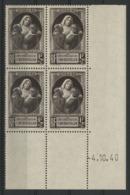 """N° 465 ** (MNH). Cote 10 €. Coin Daté Du 4/10/40 / Bloc De Quatre """"Pour Nos Victimes De La Guerre"""". - 1940-1949"""