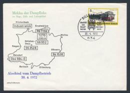 Deutschland Germany 1972 Cover / Brief / Enveloppe - Abschied Vom Dampfbetrieb - Sieg + Dill + Lahngebiet (1972) - Treinen